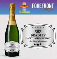 Personalised Prosecco/Champagne bottle label Perfect Birthday/Graduation Gift