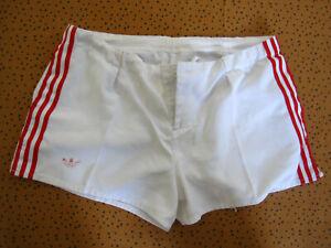 Short Adidas Blanc et bande rouge coton rugby Trefoil Vintage 80'S rétro - L