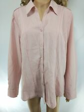 Roz Ali Dress Barn NWT Womens XL Blouse Pink Long Sleeve Button Down Career Work