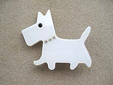 Cute White Lucite? & Crystal Scottie? Dog Brooch