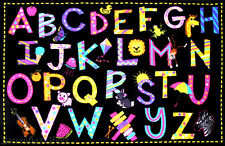 """4'3"""" x 6'6""""  Area Rug Educational Kid A to Z Letters  ABC  School Time New 5x7"""