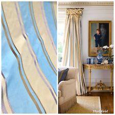 NEW 100% Silk Taffeta Drapery Decorating Fabric - Blue Gold Stripes By The Yard