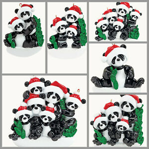 PERSONALIZED Panda Bear Christmas Ornament Family of 1 2 3 4 5 6 Holiday Gift