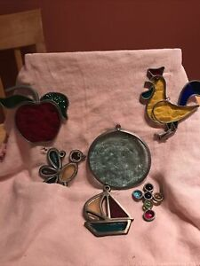 Lot Of 6 Vintage Stained Glass  Suncatchers