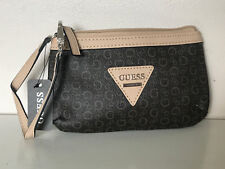 NEW! GUESS POLISHED SIGNATURE LOGO BROWN CLUTCH WRISTLET WALLET PURSE SALE