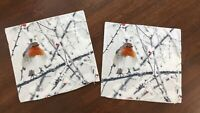2 IKEA 20x20 cushion covers ELDBLOMMA Birds winter Robin white gray zip close