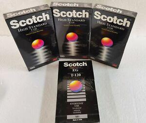 4 Scotch HS T-120 & EG T-120 Blank VHS Tape High Standard