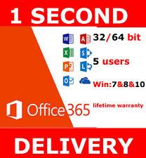 INSTANT Microsoft Office 365 2016 2019 Pro Key PC/Mac Windows 5TB 5User Lifetime