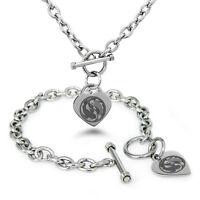 Stainless Steel Yin Yang Taijitu Symbols Heart Charm Bracelet, Necklace, Set
