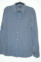 John Varvatos Mens Shirt L Collared Long Sleeve Button Blue Checkered Cotton EUC