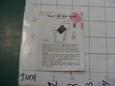 vintage TRICK - INSTRUCTIONS - ROYAL PEE WEE Viewer purchased 1951 stained