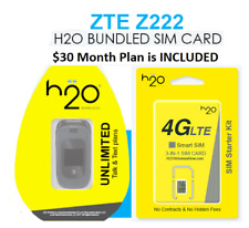 ZTE Z222 FLIPPHONE CELLPHONE + H2O Wireless SIM CARD + $30 1st MONTH INCLUDED