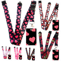 PINK HEARTS Standard size ID badge holder and lanyard neck strap holder SPIRIUS