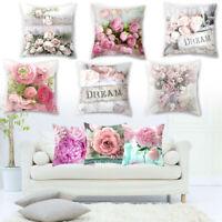 Romantic Rose Square Flower Pillow Case Sofa Cushion Cover Home Decor Office