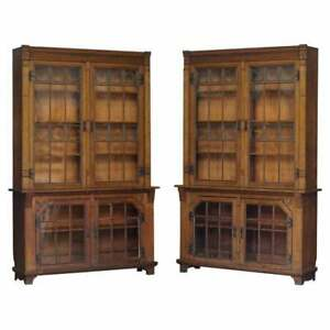 STUNNING PAIR OF HUGE ANTIQUE VICTORIAN OAK LIBRARY BOOKCASES LEADED GLASS DOORS