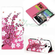 Custodia BOOKLET simil pelle per HTC One M8 STAND fiori di pesco tasche carte