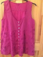 White Stuff longline buttoned vest top size 14, foxglove pink, new condition