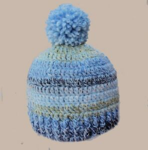 HAND CROCHETED BLUE POMPOM HAT BABY BOYS beanie knit shower gift photo prop 2