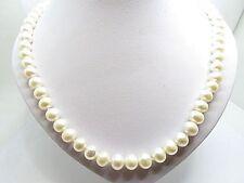Set Classico Bianco Perle 7.5 mm. Colletto & Orecchini 14k Y. GOLD NUOVO