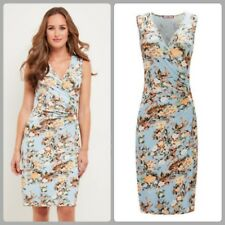 VGC Hardly worn Joe Browns Vacation Dress Pale blue floral wrap dress size UK 18