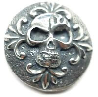 carved skull concho snap silver leather Gothic biker solid belt wallet screw
