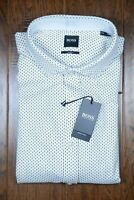 Hugo Boss Men's Ridley Slim Fit Gold/Blue Dot Jersey Cotton Casual Shirt 2XL