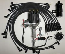 CADILLAC 472 500 Small BLACK Cap HEI Distributor+Black 45K Coil+Spark Plug Wires