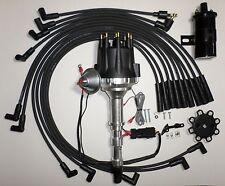 CADILLAC 472 500 Small BLACK Cap HEI Distributor+Black 45K Coil+Spark Plug Wires