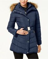 Tommy Hilfiger Womens Faux-Fur-Trim Hooded Belted Puffer Coat XL Navy Blue