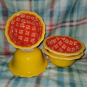 Pioneer Woman Jewel Geo Burst Dip Fruit Bowl Set Of 4 Melamine Yellow Orange