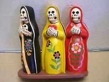 """Day of the Dead Clay Skeleton """"Faith, Love, Death"""" Dia de los Muertos Sculpture"""