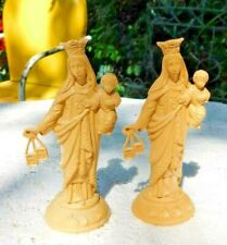TWO VINTAGE PLASTIC CAR DASHBOARD STATUES VIRGIN MARY W SCAPULAR & INFANT JESUS