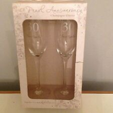 Pearl 30th Wedding Anniversary 2 Champayne flutes gift set - New