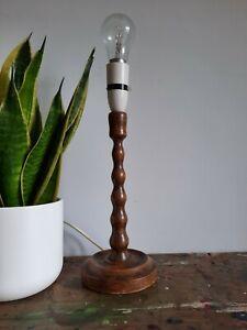 Genuine vintage bobbin wooden oak Table Lamp prop old working antique turned