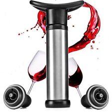 ACCIAIO Inossidabile Wine Bottle Vacuum Saver SIGILLANTE Preserver bar Pompa + 2 Tappi