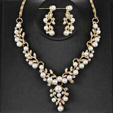 Pearl Crystal Engagement Necklace Bridal Silver Plated Jewelry Sets Wedding