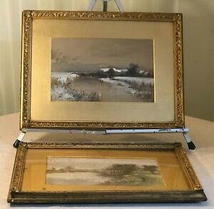 2 Victorian Water Colours in Gold Gilt Frame Unsigned Winter & Spring Scenes