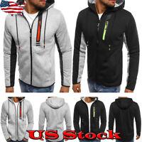 Men's Slim Fit Long Sleeve Shirts Sweatshirt Tops Casual Zip Outwear Hoodie Size