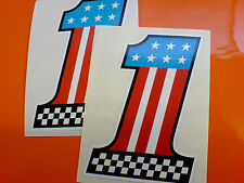 AMERICA USA Chequered No 1 Car Motorcycle Van Stickers Decals 2 off 105mm