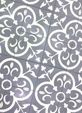 Flora Encaustic Blue White 8x8 Honed Finish Cement Tile Floor(Sold by the piece)