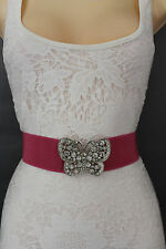 Women Fashion Belt Pink Elastic Band Hip Waist Silver Metal Butterfly Buckle S M