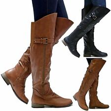 New Women FLg27 Tan Black Over the Knee Long Riding Boots size 6 to 10