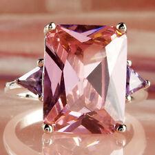 Bridal Emerald Cut Pink Topaz Amethyst Gemstone Silver Ring Size 10 Freeshipping