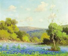 HD Art Print Texas Bluebonnets oil painting Printed on canvas 8X10 Inches P384