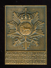 1937 SWEDEN NORLAND ARTILLERY REGIMENT  BRONZE PLAQUE MEDAL