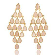 Rose Chalcedony Chandelier Earrings 14K Gold Plated 925 Silver Gemstone Jewelry