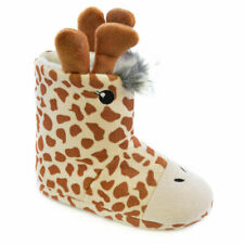 Slumberzzz Children's Novelty Giraffe Plush Fleece Bootie Slippers, Cream/Brown