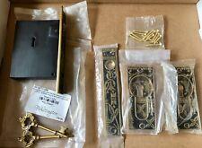 Signature Hardware Ornate Broken Leaf Pocket Door Mortise Lock Set - New
