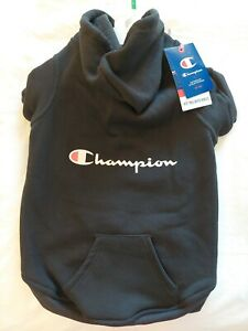 Champion Pet Pullover Hoodie - Large Machine Washable. Black with Champion logo