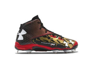 Under Armour Deception Mid DT DiamondTips Cleats (SZ 13) Black Gold Red 1264164